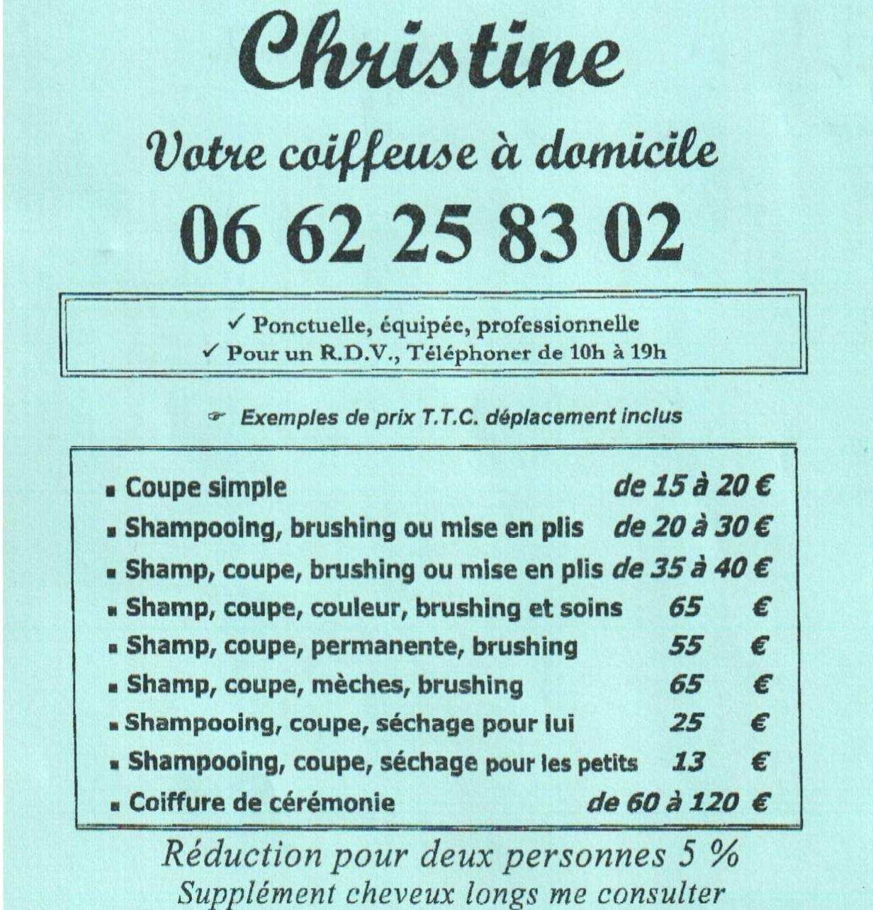 Atelier de coiffure à domicile Paris Île de France - Professionnelle