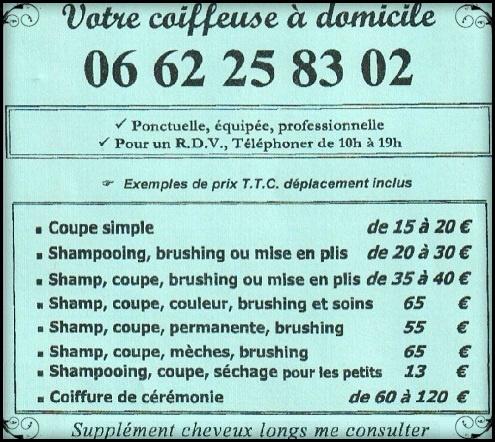 Atelier de coiffure à domicile Paris Île de France - Tarifs Prix Montant Prestation